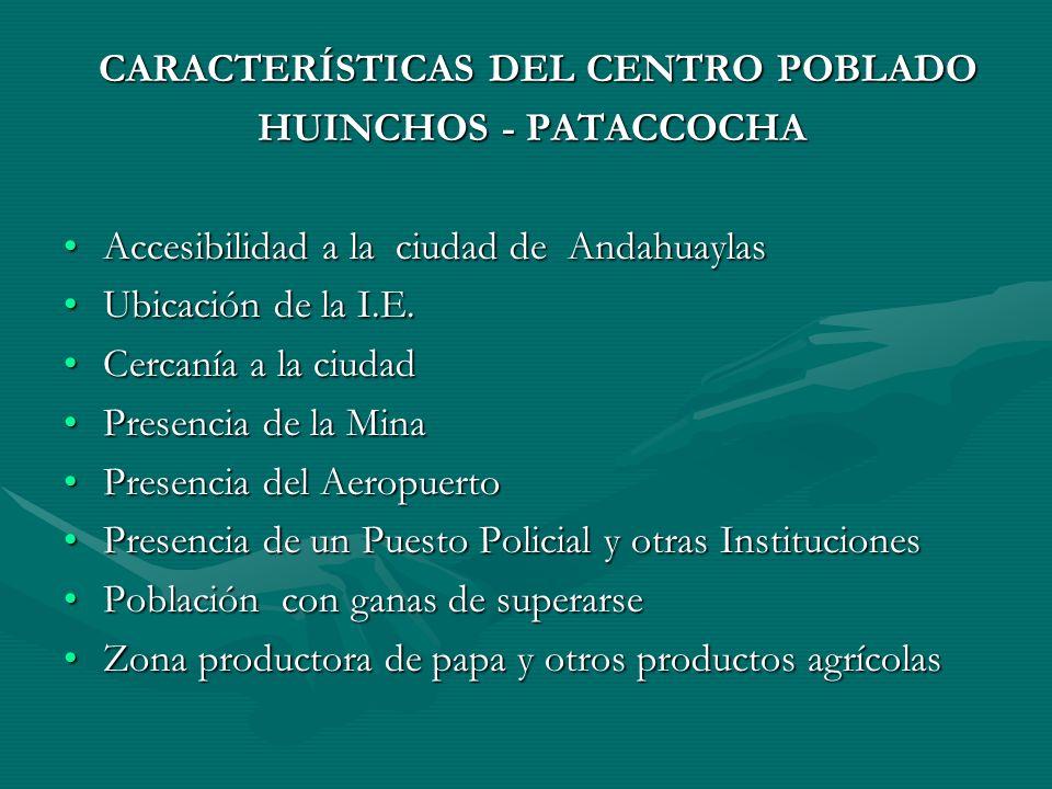 CARACTERÍSTICAS DEL CENTRO POBLADO CARACTERÍSTICAS DEL CENTRO POBLADO HUINCHOS - PATACCOCHA HUINCHOS - PATACCOCHA Accesibilidad a la ciudad de AndahuaylasAccesibilidad a la ciudad de Andahuaylas Ubicación de la I.E.Ubicación de la I.E.