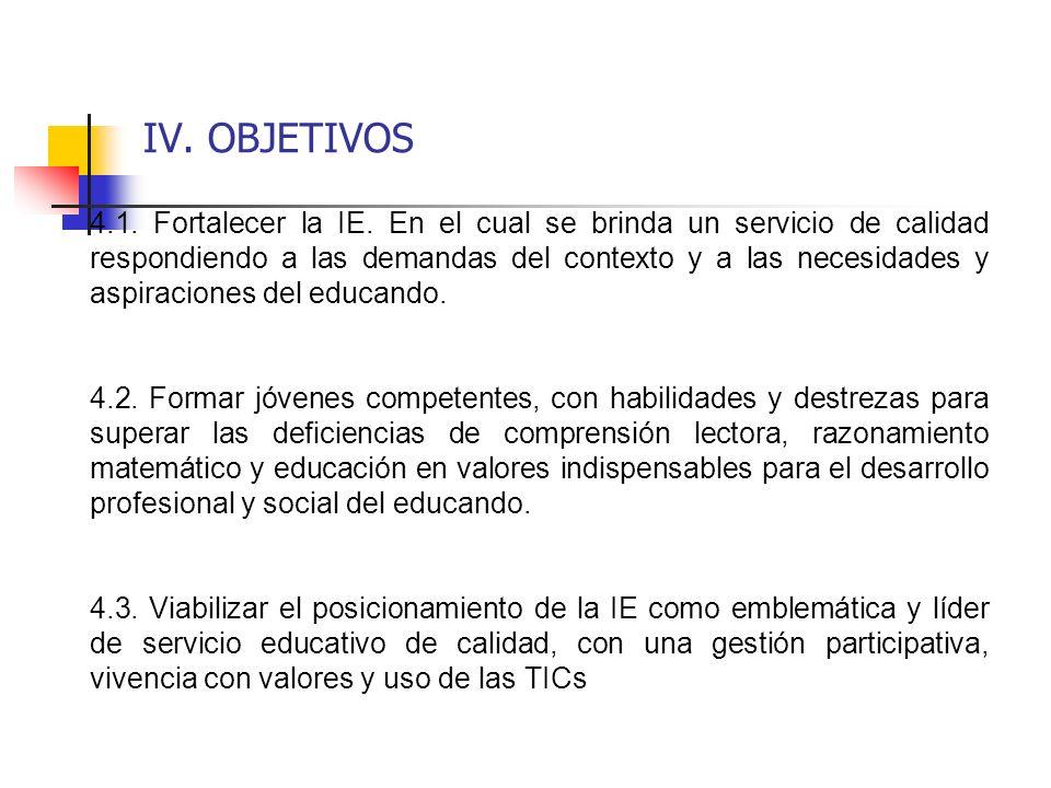IV. OBJETIVOS 4.1. Fortalecer la IE. En el cual se brinda un servicio de calidad respondiendo a las demandas del contexto y a las necesidades y aspira