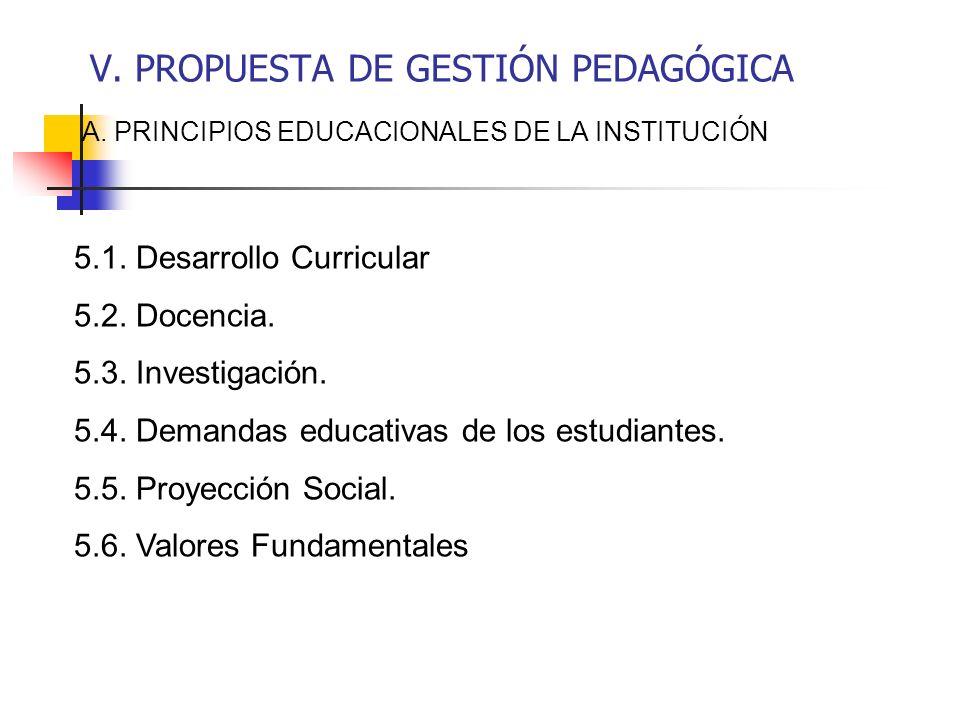 V. PROPUESTA DE GESTIÓN PEDAGÓGICA A. PRINCIPIOS EDUCACIONALES DE LA INSTITUCIÓN 5.1. Desarrollo Curricular 5.2. Docencia. 5.3. Investigación. 5.4. De