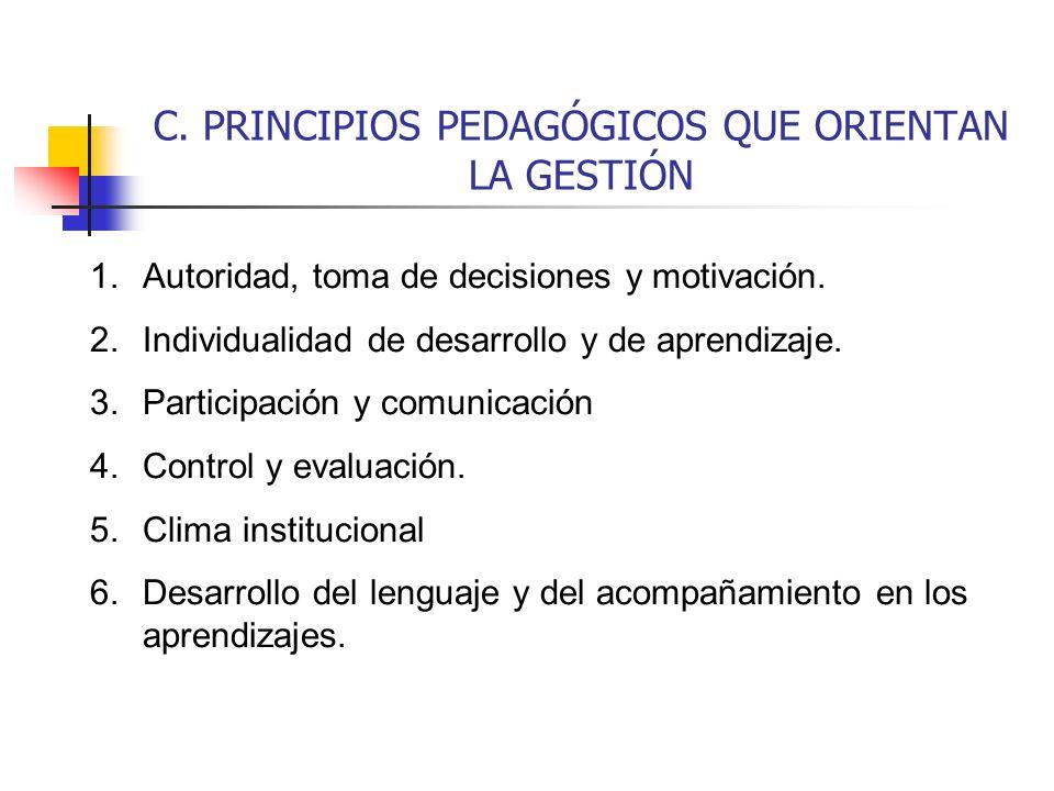 C. PRINCIPIOS PEDAGÓGICOS QUE ORIENTAN LA GESTIÓN 1.Autoridad, toma de decisiones y motivación. 2.Individualidad de desarrollo y de aprendizaje. 3.Par