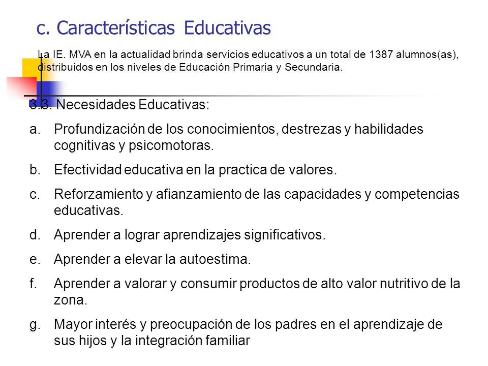 c. Características Educativas La IE. MVA en la actualidad brinda servicios educativos a un total de 1387 alumnos(as), distribuidos en los niveles de E