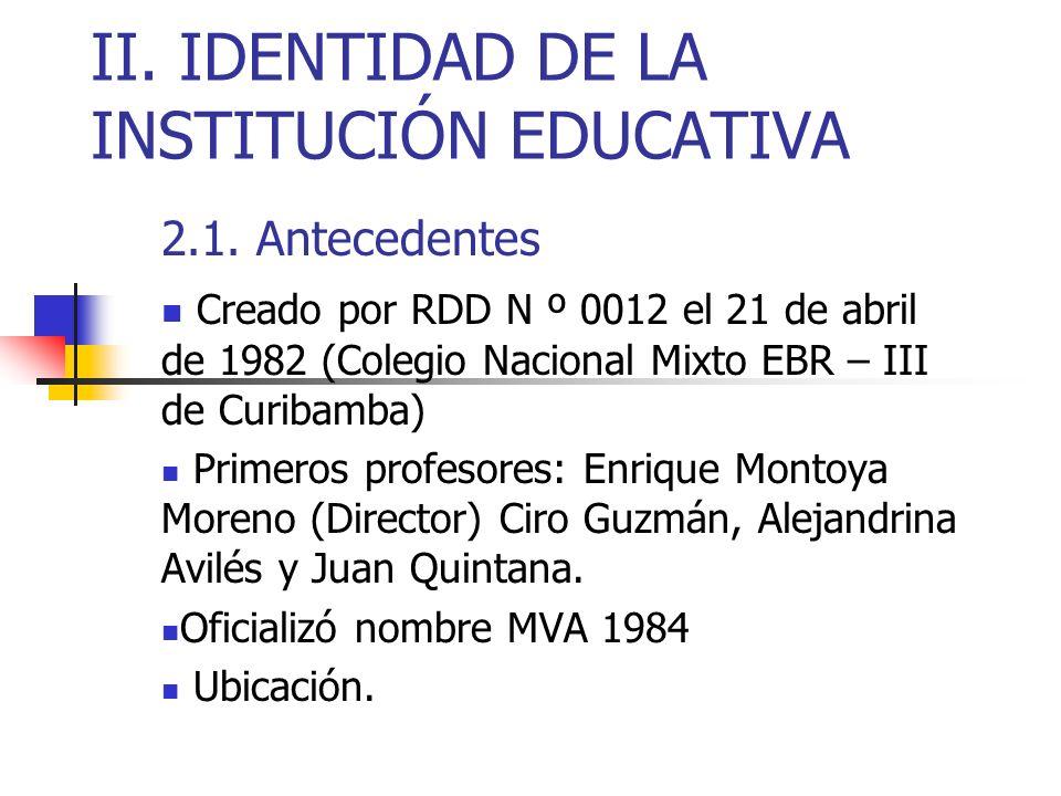 II. IDENTIDAD DE LA INSTITUCIÓN EDUCATIVA 2.1. Antecedentes Creado por RDD N º 0012 el 21 de abril de 1982 (Colegio Nacional Mixto EBR – III de Curiba
