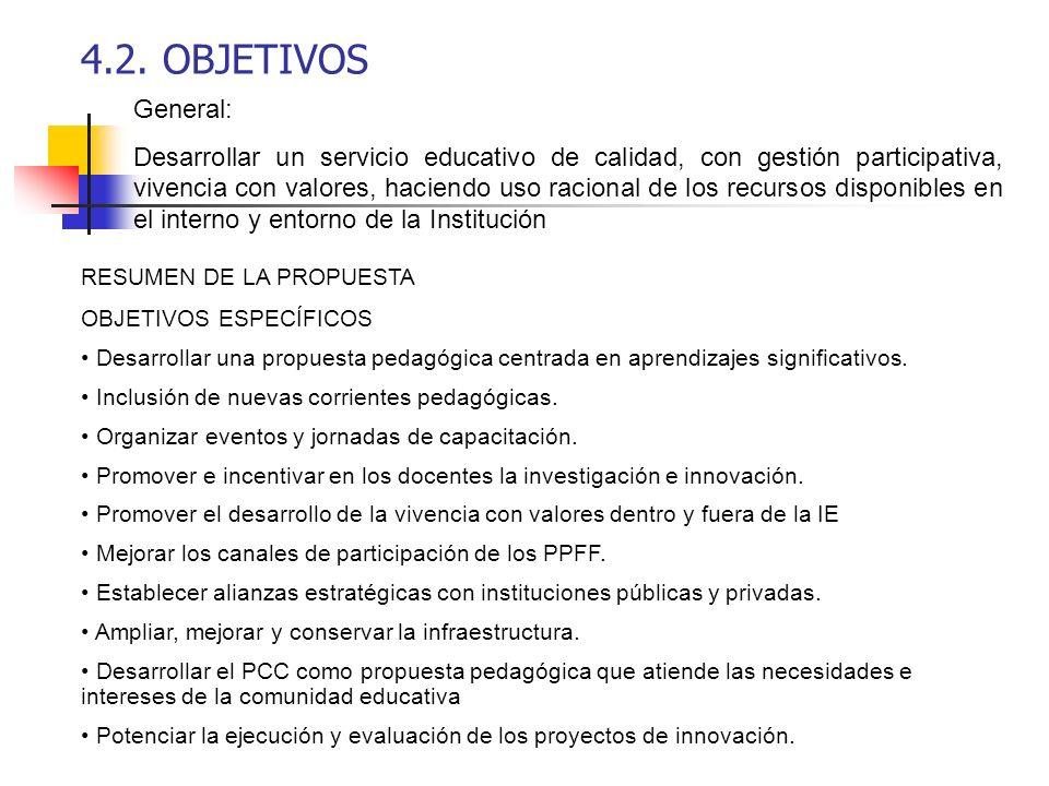 4.2. OBJETIVOS General: Desarrollar un servicio educativo de calidad, con gestión participativa, vivencia con valores, haciendo uso racional de los re