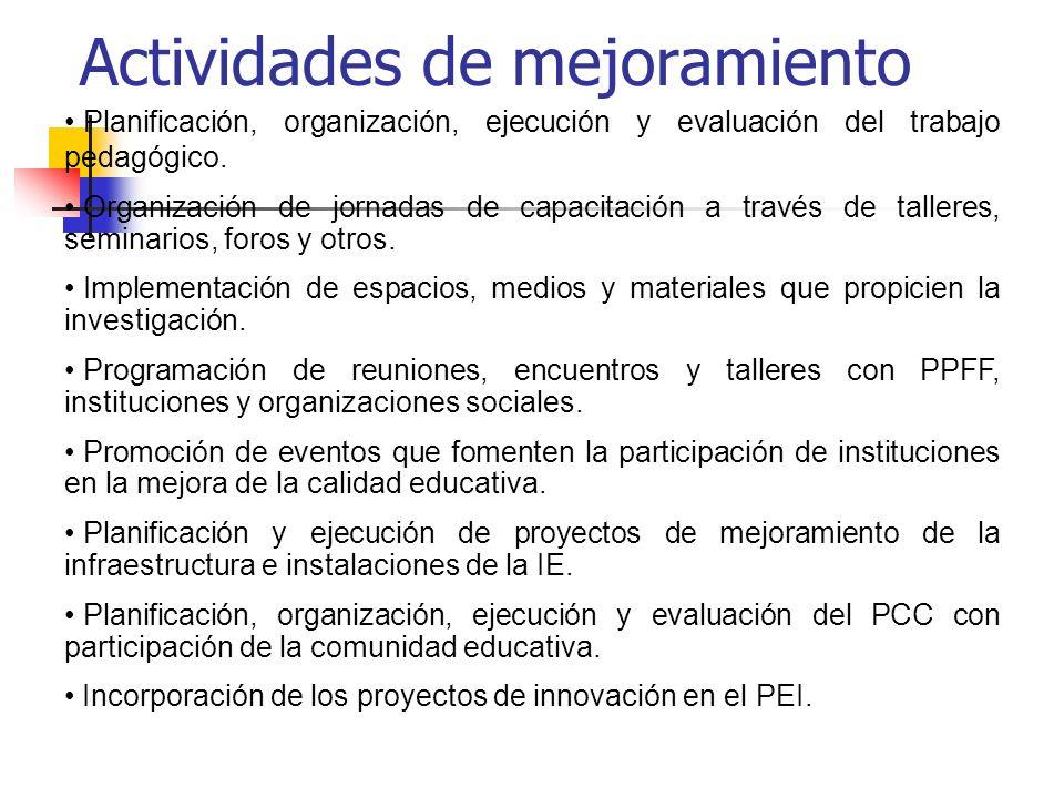 Planificación, organización, ejecución y evaluación del trabajo pedagógico. Organización de jornadas de capacitación a través de talleres, seminarios,