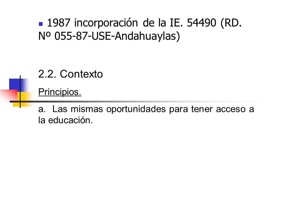 1987 incorporación de la IE. 54490 (RD. Nº 055-87-USE-Andahuaylas) 2.2. Contexto Principios. a. Las mismas oportunidades para tener acceso a la educac