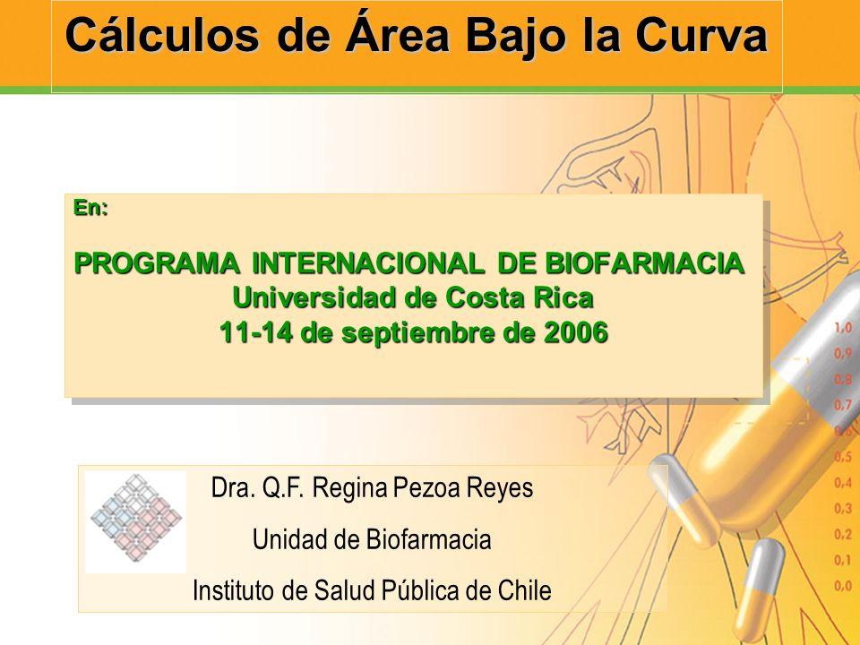 Cálculos de Área Bajo la Curva En: PROGRAMA INTERNACIONAL DE BIOFARMACIA Universidad de Costa Rica 11-14 de septiembre de 2006 En: PROGRAMA INTERNACIO