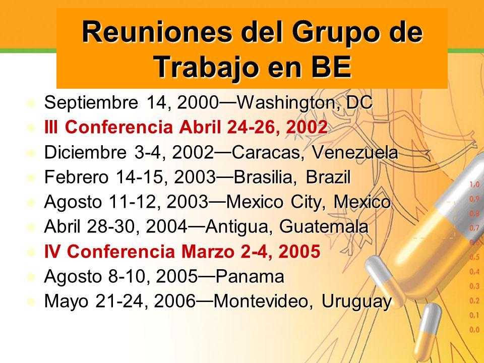 Reuniones del Grupo de Trabajo en BE Septiembre 14, 2000 Washington, DC Septiembre 14, 2000 Washington, DC III Conferencia Abril 24-26, 2002 III Confe