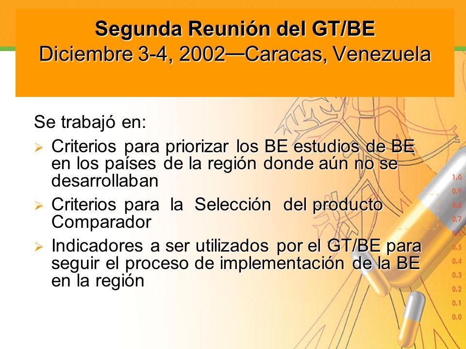 Segunda Reunión del GT/BE Diciembre 3-4, 2002 Caracas, Venezuela Se trabajó en: Criterios para priorizar los BE estudios de BE en los países de la reg