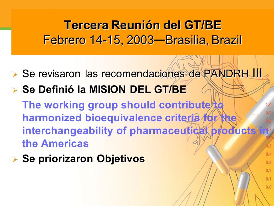 Tercera Reunión del GT/BE Febrero 14-15, 2003 Brasilia, Brazil Se revisaron las recomendaciones de PANDRH III Se revisaron las recomendaciones de PAND