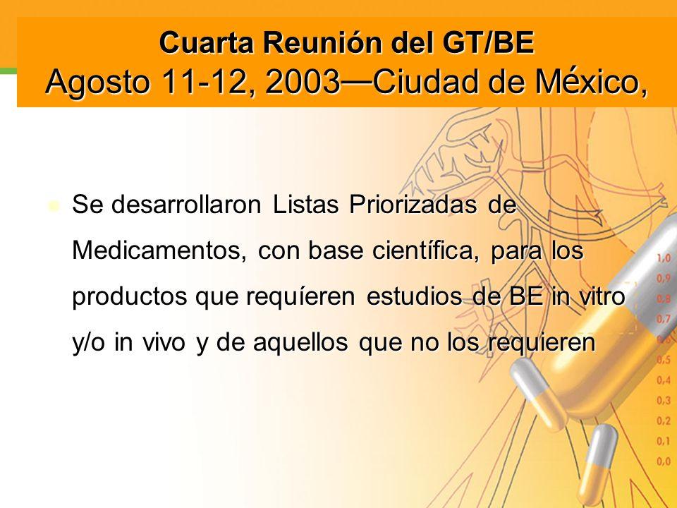 Cuarta Reunión del GT/BE Agosto 11-12, 2003 Ciudad de M é xico, Se desarrollaron Listas Priorizadas de Medicamentos, con base científica, para los pro