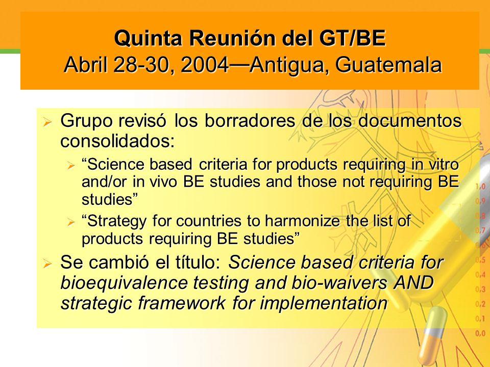 Quinta Reunión del GT/BE Abril 28-30, 2004 Antigua, Guatemala Grupo revisó los borradores de los documentos consolidados: Grupo revisó los borradores
