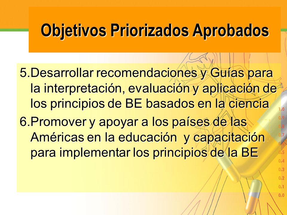 Objetivos Priorizados Aprobados 5.Desarrollar recomendaciones y Guías para la interpretación, evaluación y aplicación de los principios de BE basados