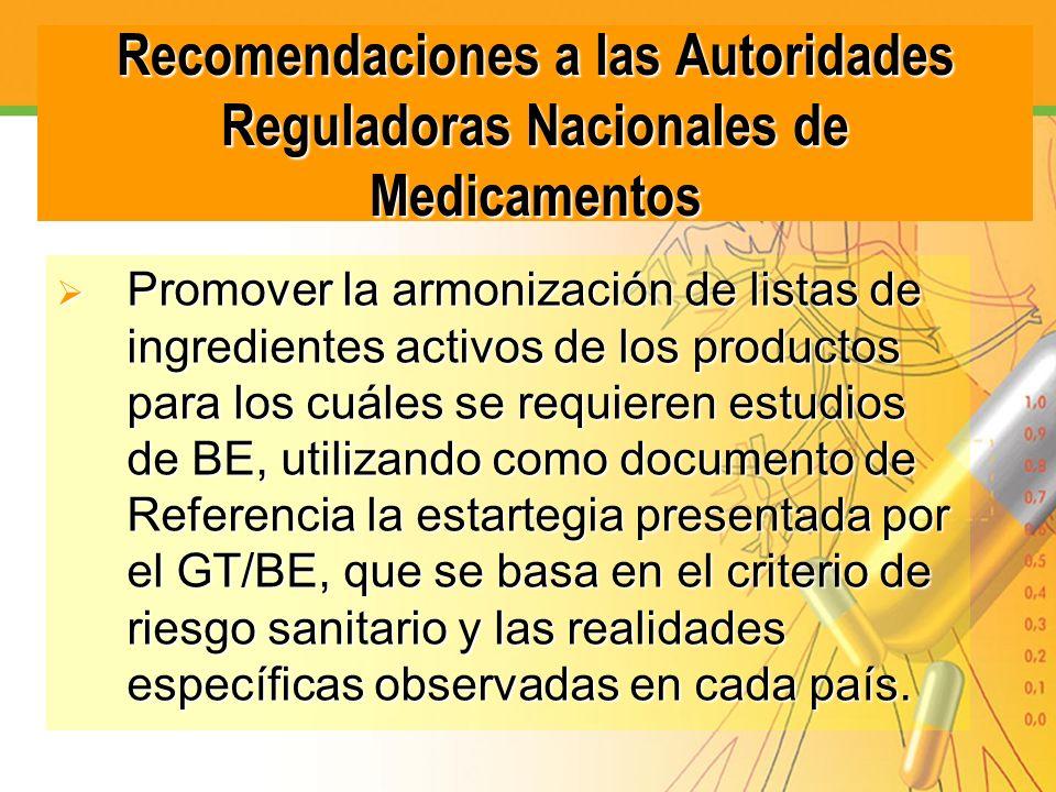 Recomendaciones a las Autoridades Reguladoras Nacionales de Medicamentos Promover la armonización de listas de ingredientes activos de los productos p