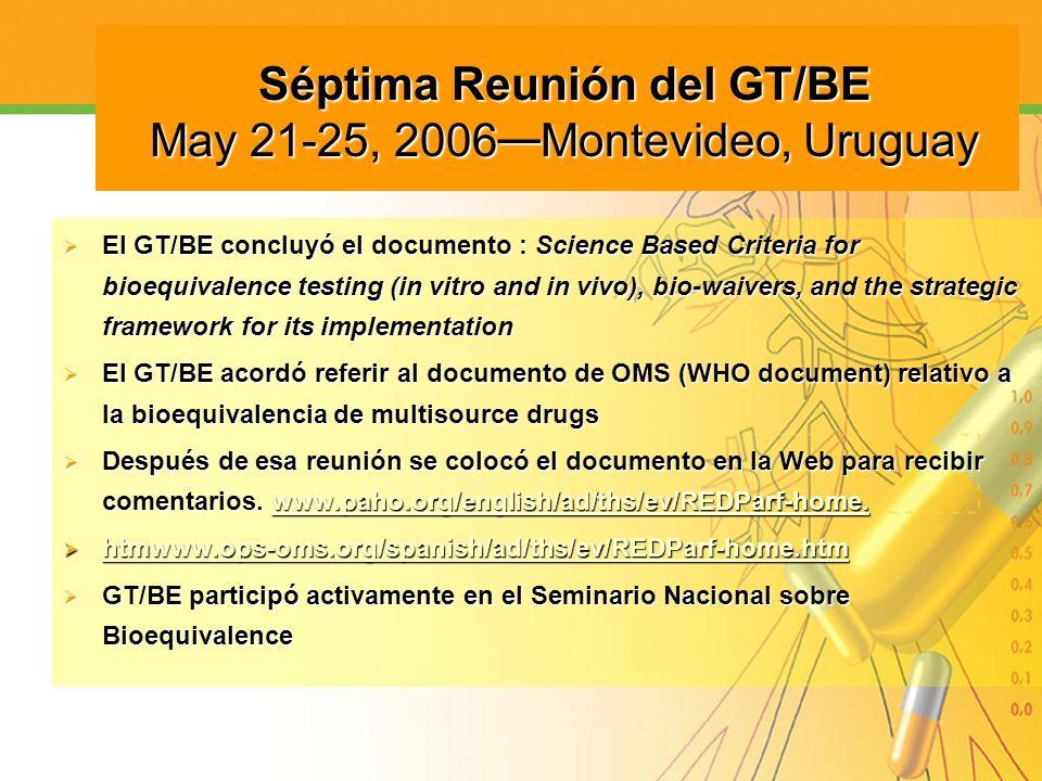 Séptima Reunión del GT/BE May 21-25, 2006 Montevideo, Uruguay Séptima Reunión del GT/BE May 21-25, 2006 Montevideo, Uruguay El GT/BE concluyó el docum