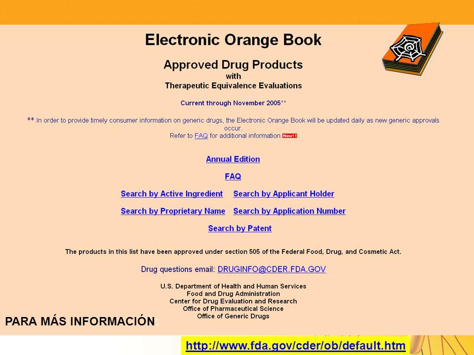 PARA MÁS INFORMACIÓN: http://www.fda.gov/cder/ob/default.htm