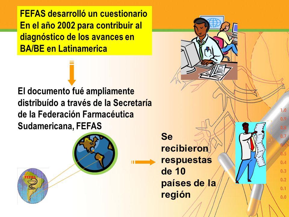 FEFAS desarrolló un cuestionario En el año 2002 para contribuir al diagnóstico de los avances en BA/BE en Latinamerica El documento fué ampliamente di