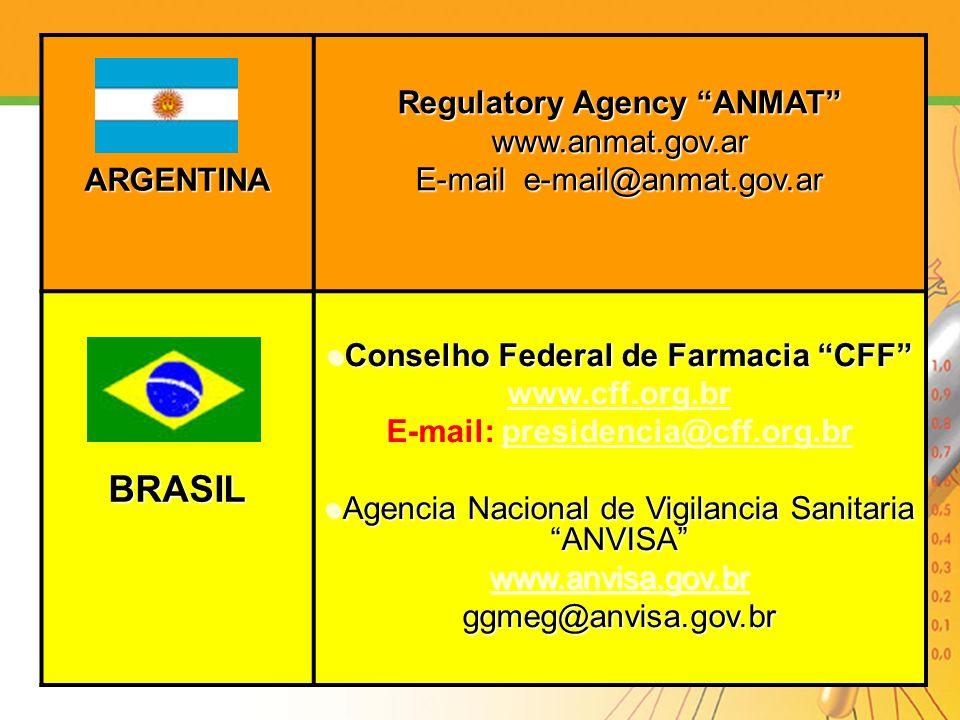 ARGENTINA Regulatory Agency ANMAT www.anmat.gov.ar E-mail e-mail@anmat.gov.ar BRASIL Conselho Federal de Farmacia CFF Conselho Federal de Farmacia CFF