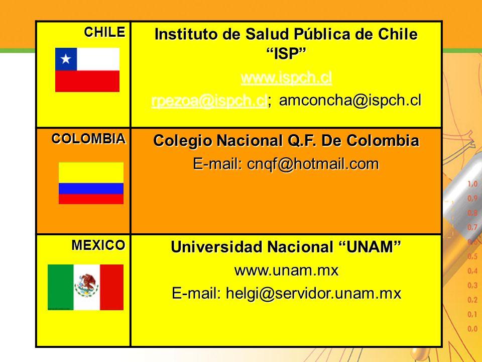 CHILE Instituto de Salud Pública de Chile ISP www.ispch.cl rpezoa@ispch.clrpezoa@ispch.cl; amconcha@ispch.cl rpezoa@ispch.cl COLOMBIA Colegio Nacional
