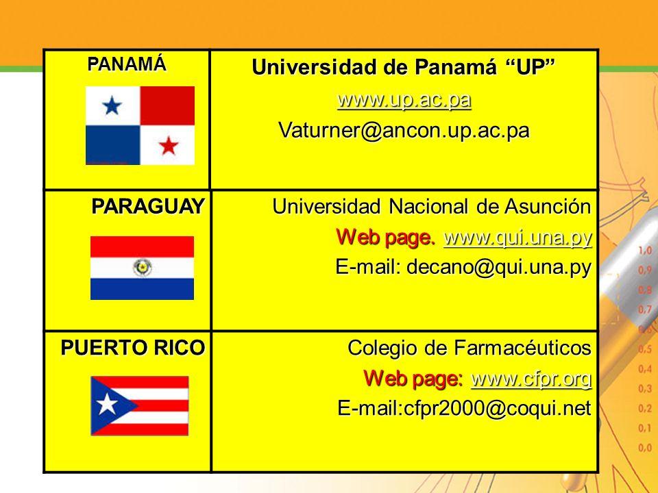 PARAGUAY Universidad Nacional de Asunción Web page. www.qui.una.py www.qui.una.py E-mail: decano@qui.una.py PUERTO RICO Colegio de Farmacéuticos Web p