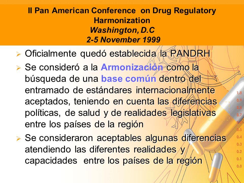 II Pan American Conference on Drug Regulatory Harmonization Washington, D.C 2-5 November 1999 Oficialmente quedó establecida la PANDRH Oficialmente qu