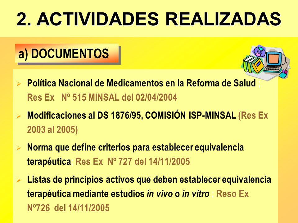 2. ACTIVIDADES REALIZADAS Política Nacional de Medicamentos en la Reforma de Salud ; Res Ex Nº 515 MINSAL del 02/04/2004 Modificaciones al DS 1876/95,