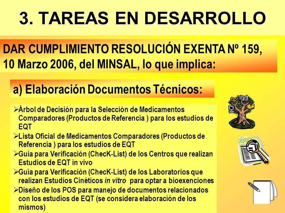 3. TAREAS EN DESARROLLO DAR CUMPLIMIENTO RESOLUCIÓN EXENTA Nº 159, 10 Marzo 2006, del MINSAL, lo que implica: Árbol de Decisión para la Selección de M