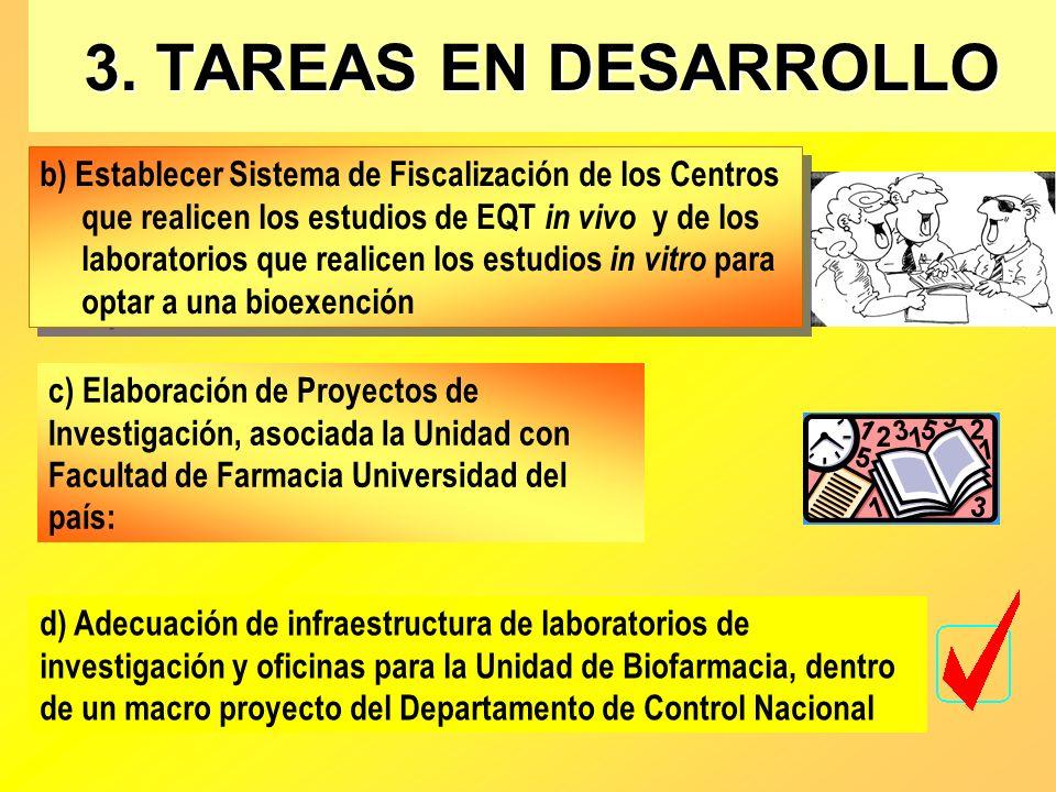 3. TAREAS EN DESARROLLO b) Establecer Sistema de Fiscalización de los Centros que realicen los estudios de EQT in vivo y de los laboratorios que reali