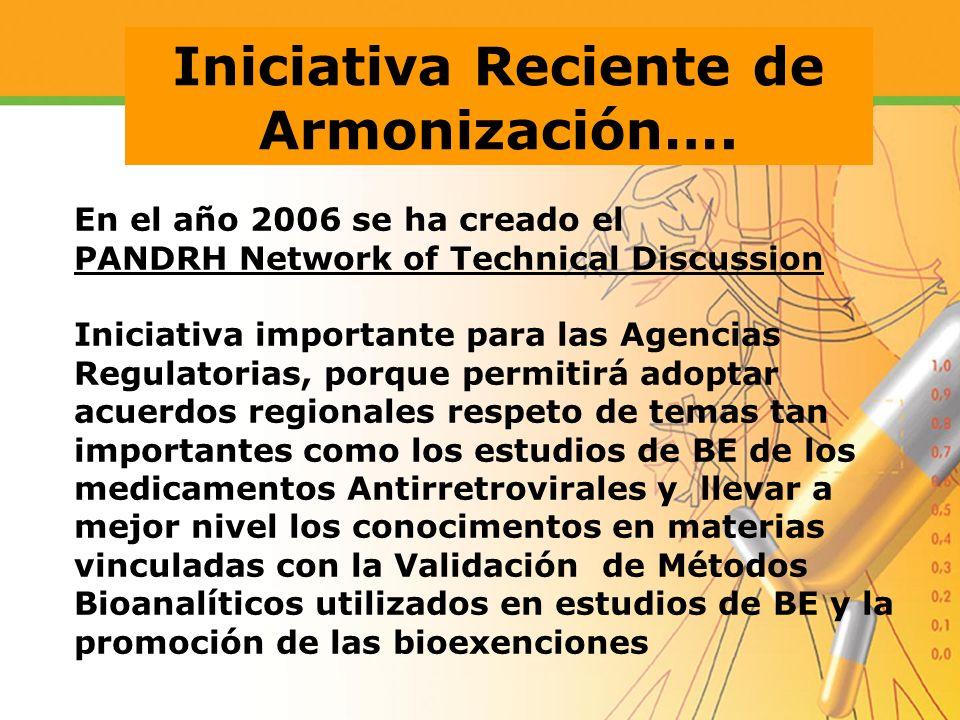 En el año 2006 se ha creado el PANDRH Network of Technical Discussion Iniciativa importante para las Agencias Regulatorias, porque permitirá adoptar a