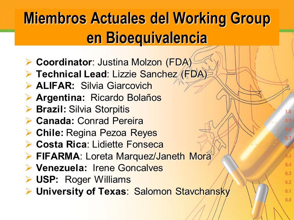 Miembros Actuales del Working Group en Bioequivalencia Coordinator: Justina Molzon (FDA) Coordinator: Justina Molzon (FDA) Technical Lead: Lizzie Sanc