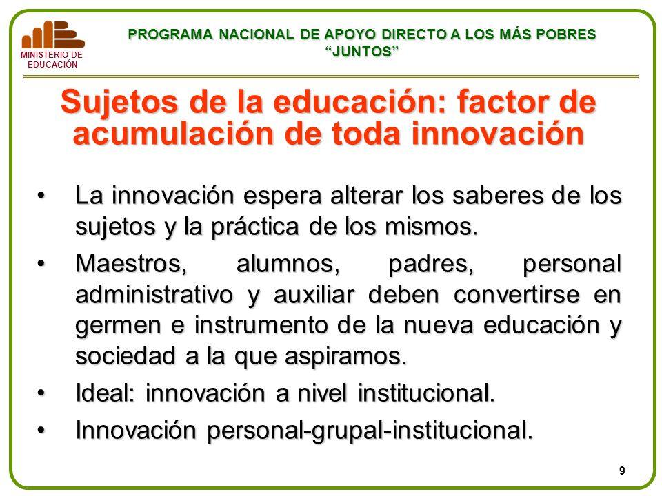 MINISTERIO DE EDUCACIÓN PROGRAMA NACIONAL DE APOYO DIRECTO A LOS MÁS POBRES JUNTOS Sujetos de la educación: factor de acumulación de toda innovación L