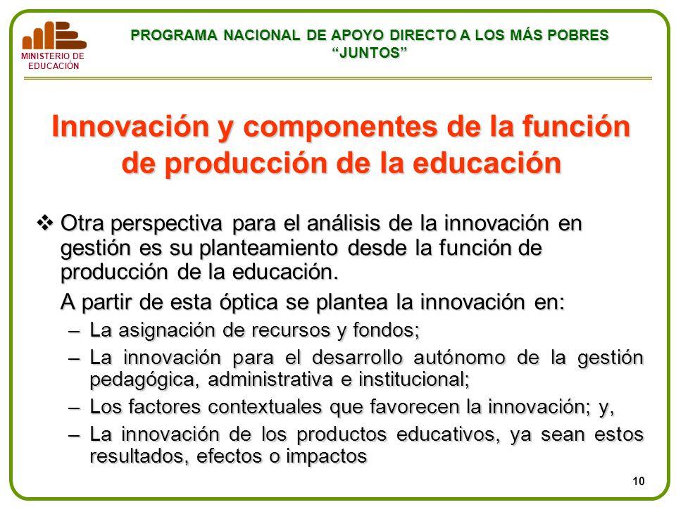 MINISTERIO DE EDUCACIÓN PROGRAMA NACIONAL DE APOYO DIRECTO A LOS MÁS POBRES JUNTOS Innovación y componentes de la función de producción de la educació
