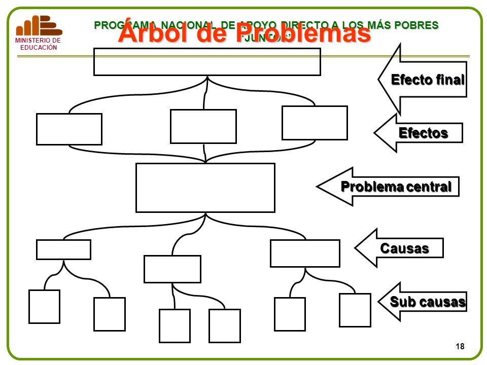 MINISTERIO DE EDUCACIÓN PROGRAMA NACIONAL DE APOYO DIRECTO A LOS MÁS POBRES JUNTOS Árbol de Problemas Causas Efectos Efecto final Problema central Sub