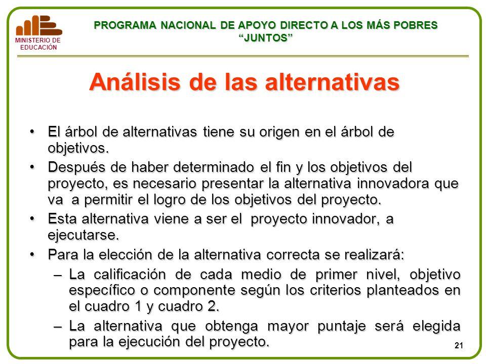 MINISTERIO DE EDUCACIÓN PROGRAMA NACIONAL DE APOYO DIRECTO A LOS MÁS POBRES JUNTOS Análisis de las alternativas El árbol de alternativas tiene su orig