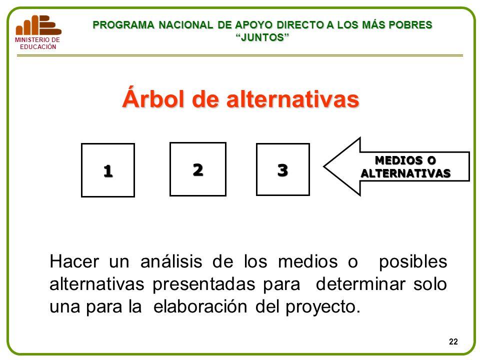 MINISTERIO DE EDUCACIÓN PROGRAMA NACIONAL DE APOYO DIRECTO A LOS MÁS POBRES JUNTOS Árbol de alternativas 1 2 3 MEDIOS O ALTERNATIVAS Hacer un análisis