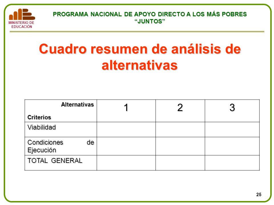 MINISTERIO DE EDUCACIÓN PROGRAMA NACIONAL DE APOYO DIRECTO A LOS MÁS POBRES JUNTOS Cuadro resumen de análisis de alternativas Alternativas Alternativa