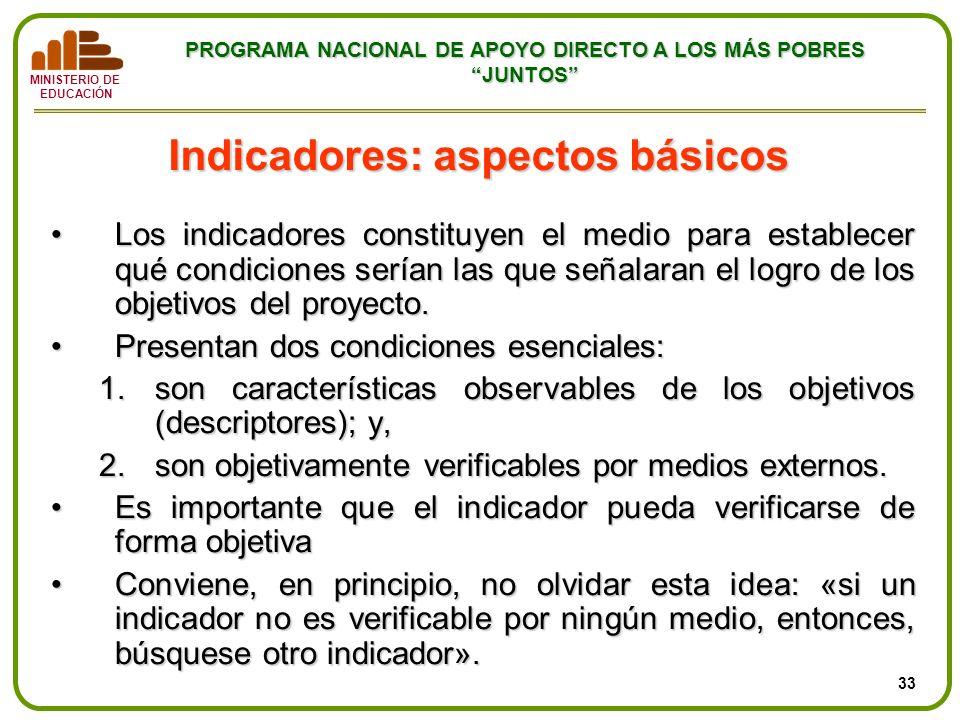 MINISTERIO DE EDUCACIÓN PROGRAMA NACIONAL DE APOYO DIRECTO A LOS MÁS POBRES JUNTOS Indicadores: aspectos básicos Los indicadores constituyen el medio