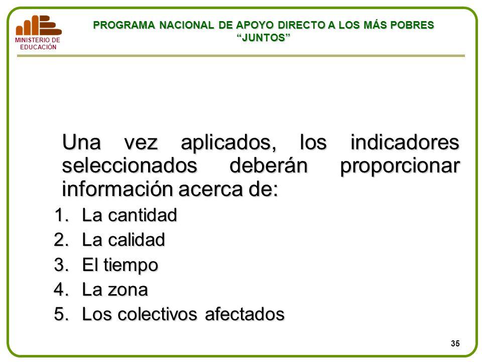 MINISTERIO DE EDUCACIÓN PROGRAMA NACIONAL DE APOYO DIRECTO A LOS MÁS POBRES JUNTOS Una vez aplicados, los indicadores seleccionados deberán proporcion