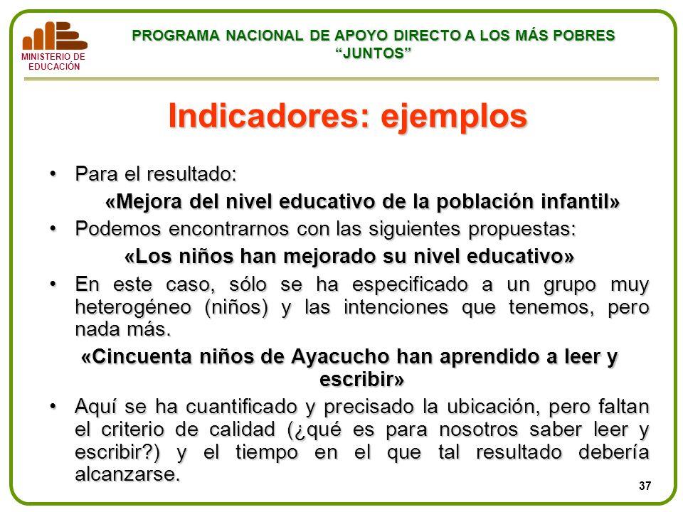 MINISTERIO DE EDUCACIÓN PROGRAMA NACIONAL DE APOYO DIRECTO A LOS MÁS POBRES JUNTOS Para el resultado:Para el resultado: «Mejora del nivel educativo de