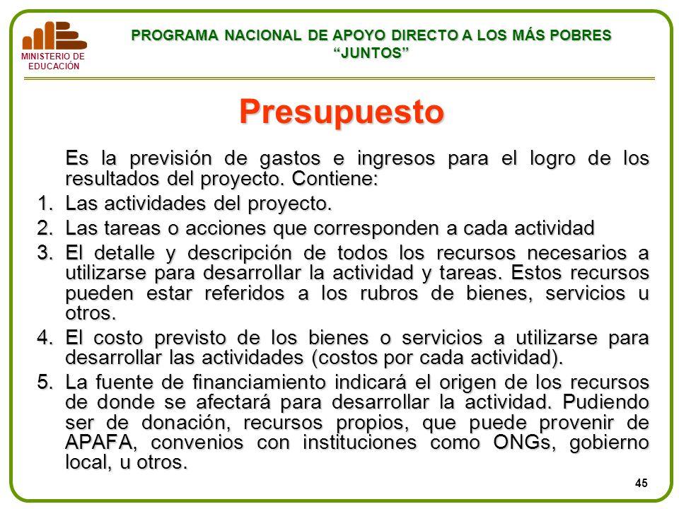 MINISTERIO DE EDUCACIÓN PROGRAMA NACIONAL DE APOYO DIRECTO A LOS MÁS POBRES JUNTOS Presupuesto Es la previsión de gastos e ingresos para el logro de l