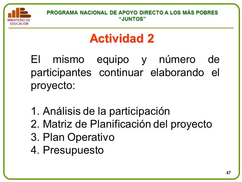 MINISTERIO DE EDUCACIÓN PROGRAMA NACIONAL DE APOYO DIRECTO A LOS MÁS POBRES JUNTOS Actividad 2 El mismo equipo y número de participantes continuar ela