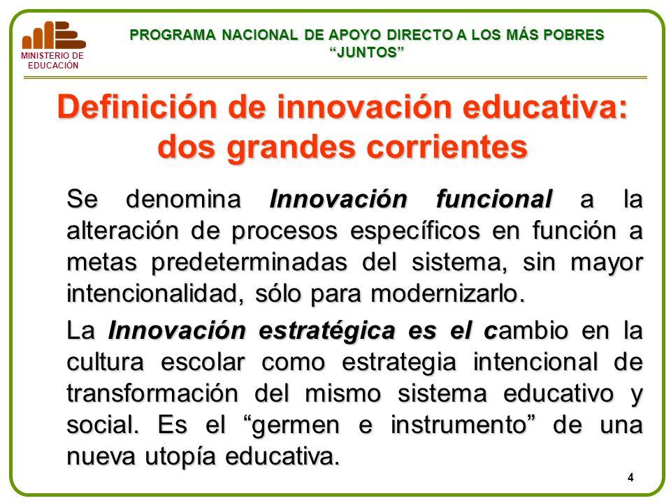 MINISTERIO DE EDUCACIÓN PROGRAMA NACIONAL DE APOYO DIRECTO A LOS MÁS POBRES JUNTOS Definición de innovación educativa: dos grandes corrientes Se denom