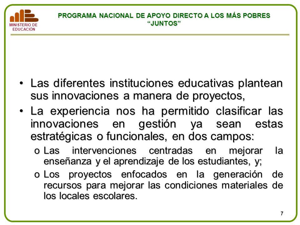 MINISTERIO DE EDUCACIÓN PROGRAMA NACIONAL DE APOYO DIRECTO A LOS MÁS POBRES JUNTOS Proyectos de innovación en la gestión Las diferentes instituciones