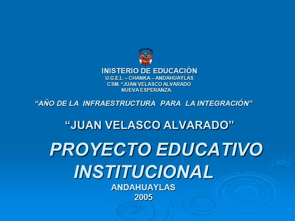 INISTERIO DE EDUCACIÓN U.G.E.L – CHANKA – ANDAHUAYLAS CSM. JUAN VELASCO ALVARADO NUEVA ESPERANZA. AÑO DE LA INFRAESTRUCTURA PARA LA INTEGRACIÓN JUAN V