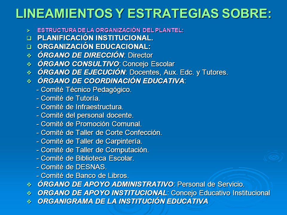 LINEAMIENTOS Y ESTRATEGIAS SOBRE: ESTRUCTURA DE LA ORGANIZACIÓN DEL PLANTEL: ESTRUCTURA DE LA ORGANIZACIÓN DEL PLANTEL: PLANIFICACIÓN INSTITUCIONAL. P