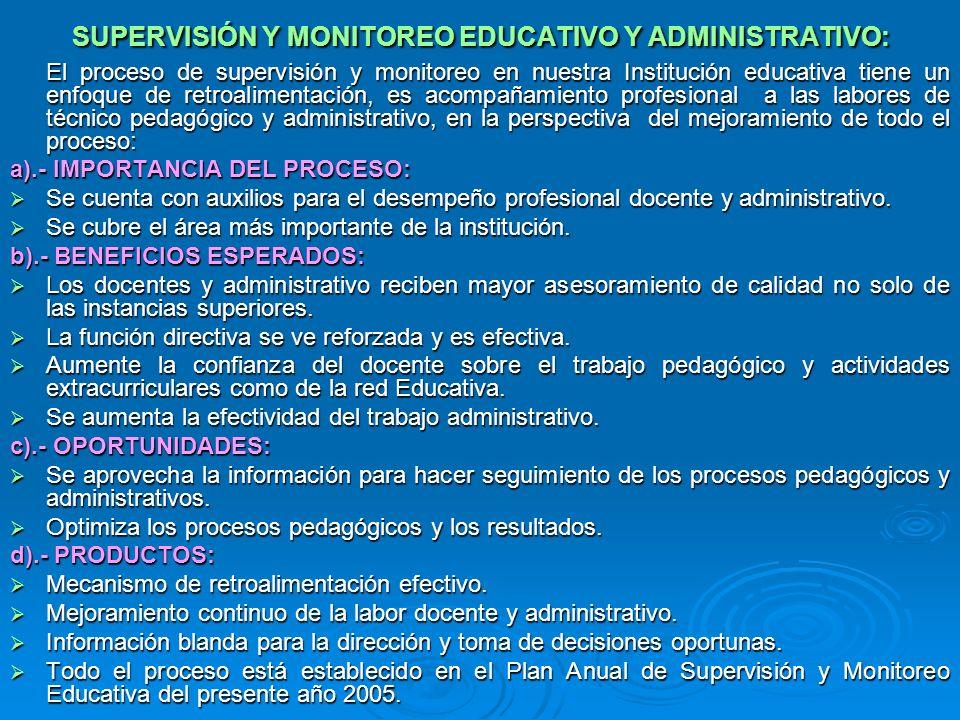 SUPERVISIÓN Y MONITOREO EDUCATIVO Y ADMINISTRATIVO: El proceso de supervisión y monitoreo en nuestra Institución educativa tiene un enfoque de retroalimentación, es acompañamiento profesional a las labores de técnico pedagógico y administrativo, en la perspectiva del mejoramiento de todo el proceso: a).- IMPORTANCIA DEL PROCESO: Se cuenta con auxilios para el desempeño profesional docente y administrativo.