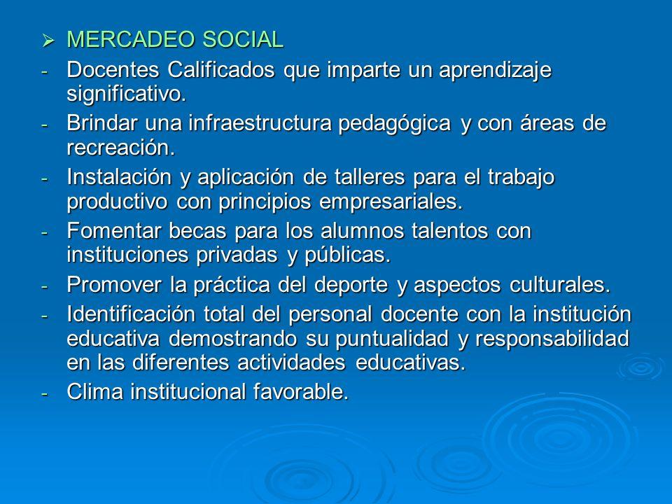 MERCADEO SOCIAL MERCADEO SOCIAL - Docentes Calificados que imparte un aprendizaje significativo. - Brindar una infraestructura pedagógica y con áreas