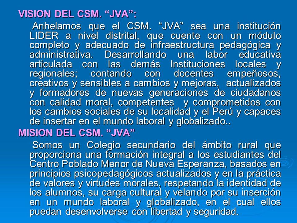 VISION DEL CSM. JVA: Anhelamos que el CSM. JVA sea una institución LIDER a nivel distrital, que cuente con un módulo completo y adecuado de infraestru