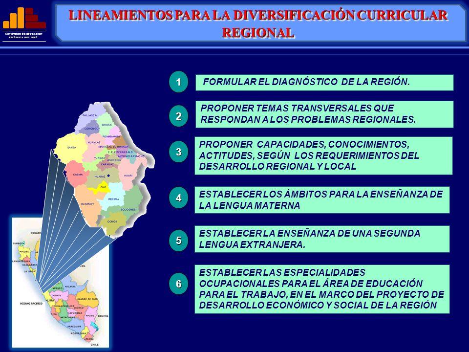 MINISTERIO DE EDUCACIÓN REPÚBLICA DEL PERÚ FORMULAR EL DIAGNÓSTICO DE LA REGIÓN. PROPONER CAPACIDADES, CONOCIMIENTOS, ACTITUDES, SEGÚN LOS REQUERIMIEN