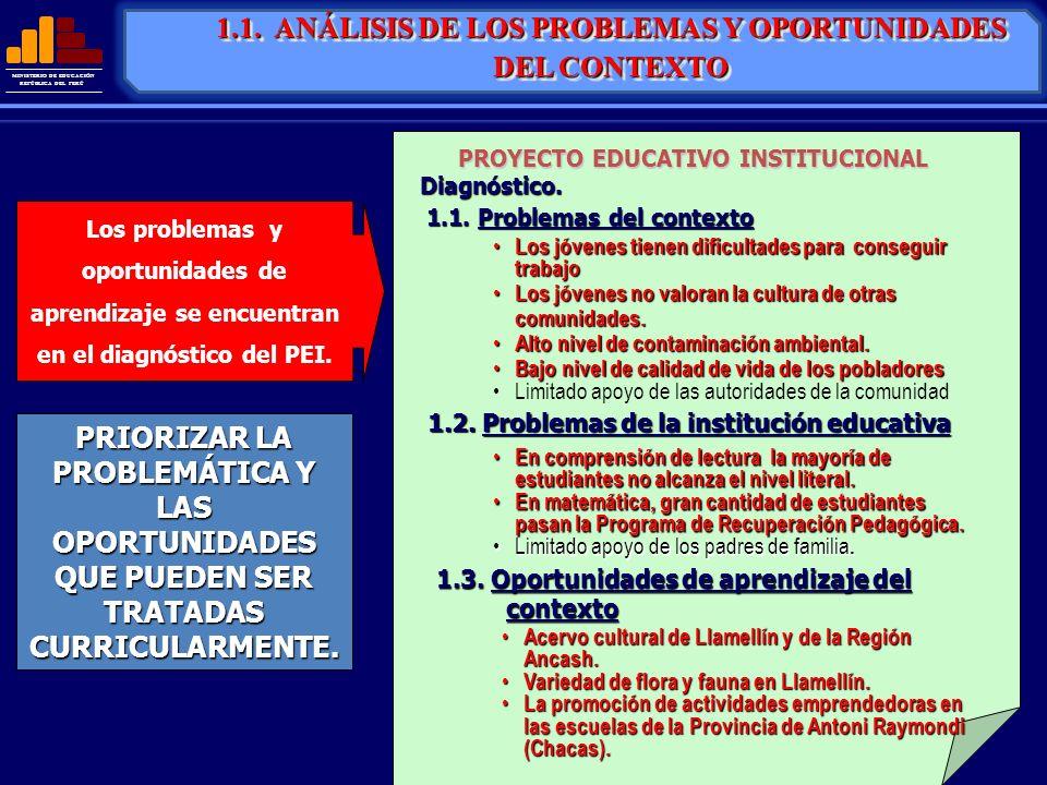 MINISTERIO DE EDUCACIÓN REPÚBLICA DEL PERÚ Los problemas y oportunidades de aprendizaje se encuentran en el diagnóstico del PEI. PRIORIZAR LA PROBLEMÁ