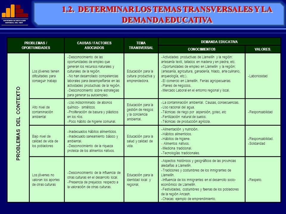 MINISTERIO DE EDUCACIÓN REPÚBLICA DEL PERÚ 1.2. DETERMINAR LOS TEMAS TRANSVERSALES Y LA DEMANDA EDUCATIVA PROBLEMAS / OPORTUNIDADES CAUSAS / FACTORES